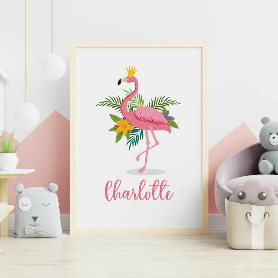 Pink Flamingo Personalised Wall Print
