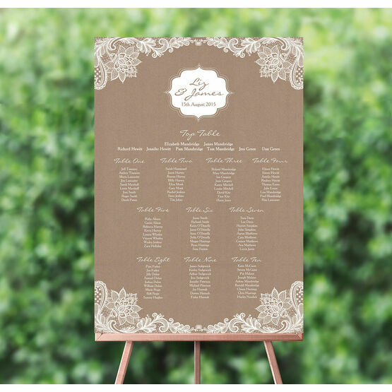 Rustic Lace Wedding Seating Plan