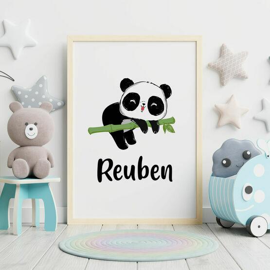 Panda Bear Personalised Wall Print