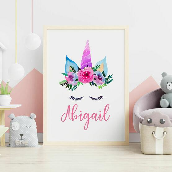 Unicorn Flower Crown Personalised Wall Print