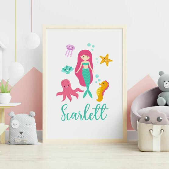 Mermaid Personalised Wall Print