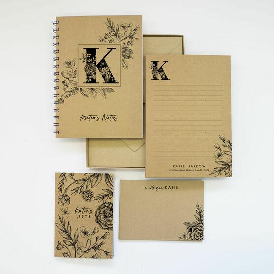 Personalised Eco Stationery Gift Set - 'Floral Monogram'