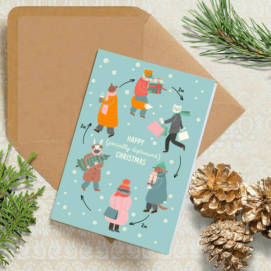 Pack of 10 'Socially Distanced 2020' Christmas Cards