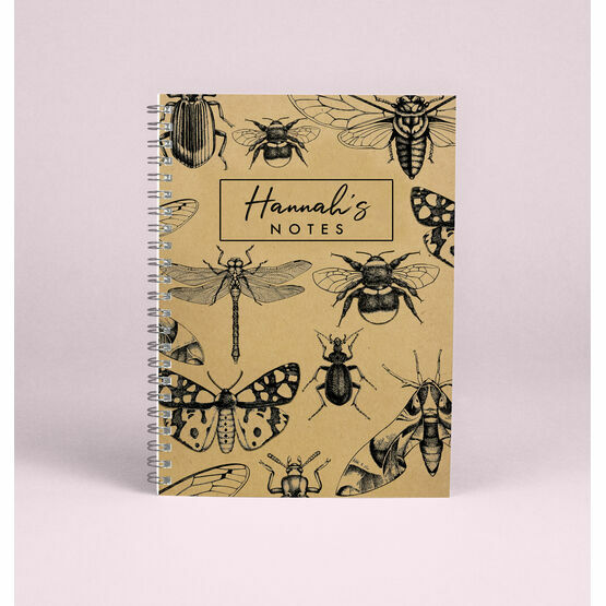 Personalised Illustrated Insects A5 Notebook