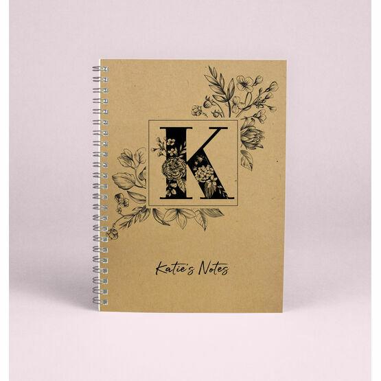 Personalised Floral Monogram A5 Notebook