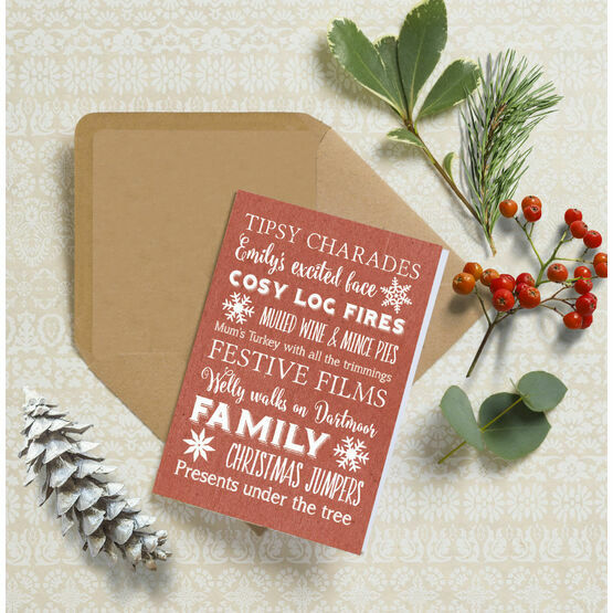 Personalised Typography Christmas Cards - Red