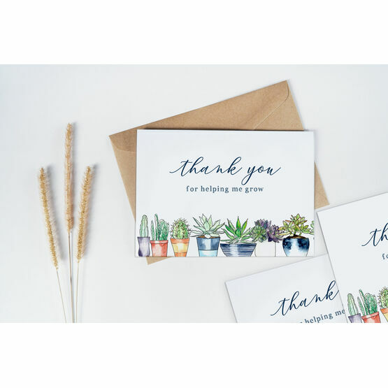 Pack of 10 Plants 'Thank you for helping me grow' Teacher Note Cards