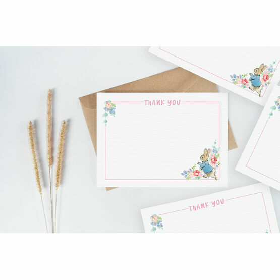 Pack of 10 Peter Rabbit Beatrix Potter Pink Thank You Note Cards