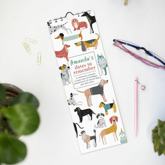 Personalised Illustrated Dogs Perpetual Birthday Calendar