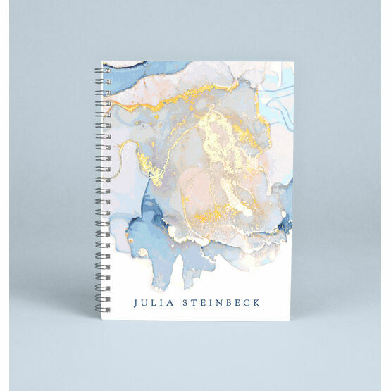 Personalised Marble Pastel Blue & Gold Notebook