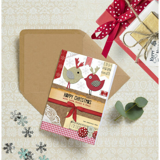 Rustic 'Love Birds' Personalised Christmas Cards