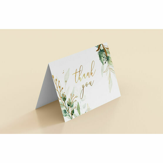 Greenery and Gold Folded Thank You Cards