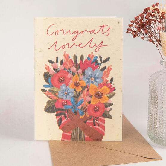 Congratulations Recycled Seeded Paper Greetings Card