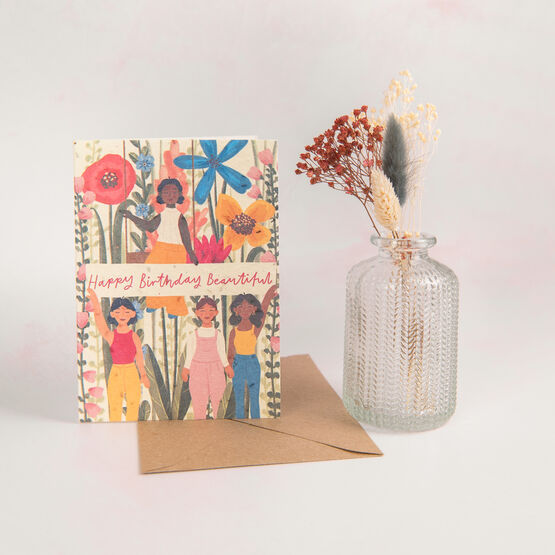 'Happy Birthday Beautiful' Recycled Seeded Paper Card
