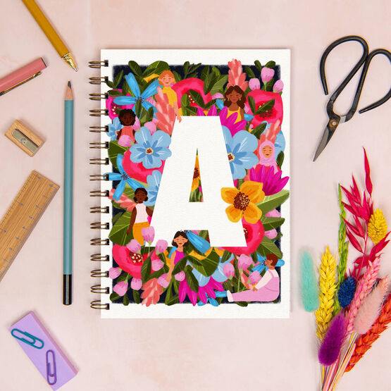 Personalised Floral Women's Initial Luxury Notebook