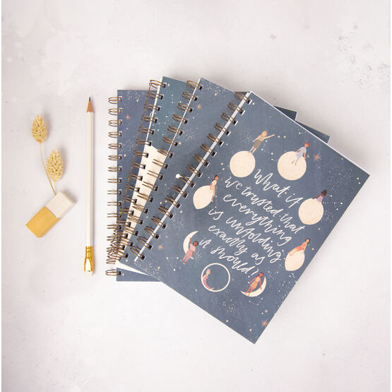 Moon Phases Celestial Star Themed Lined Notebook