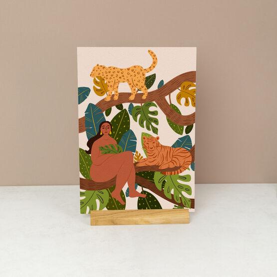 Wild Woman Jungle Themed Portrait Wall Art Print