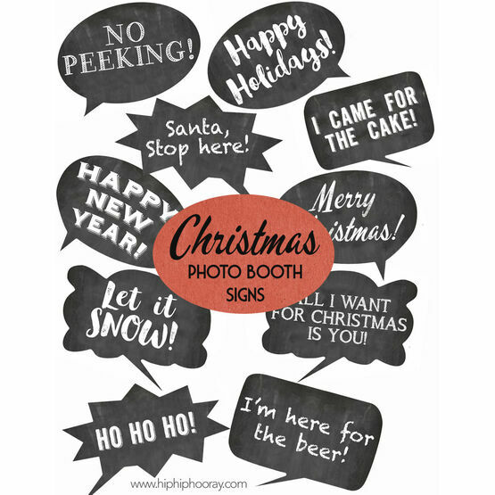 picture about Christmas Photo Props Printable referred to as Xmas Vacation Chalkboard Speech Bubble Slogans