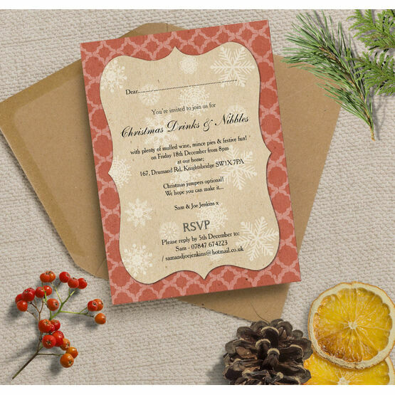 Rustic Red & Kraft Vintage Personalised Christmas Party Invitations - Printed or Printable