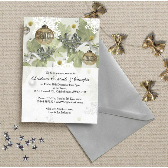 Personalised 'Christmas Sparkle' Party Invitations