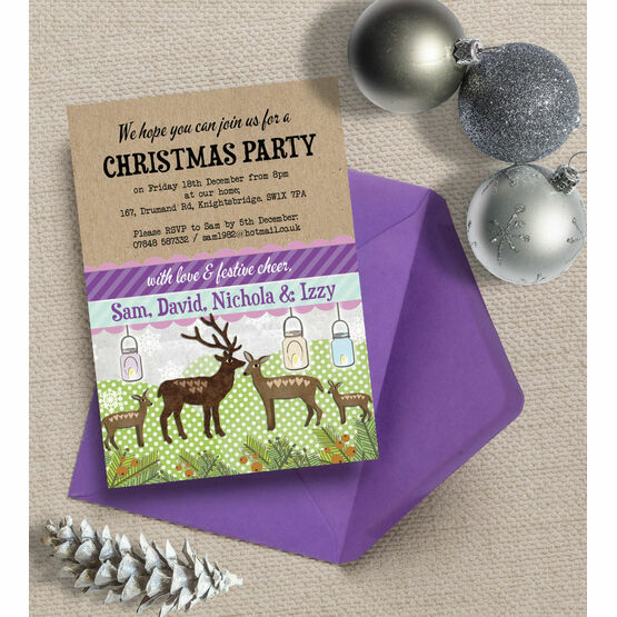 Personalised 'Woodland Deer' Christmas Party Invitations