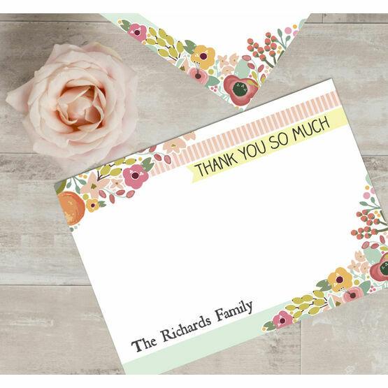 Personalised 'Elegant Floral' Thank You Cards  - Printable or Printed