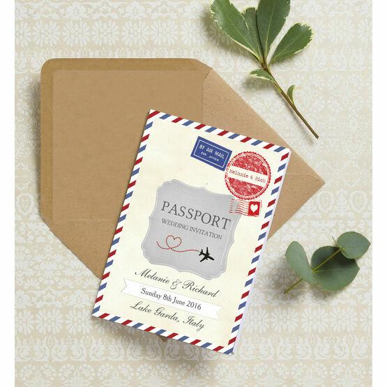 Vintage Airmail Passport Wedding Invitation