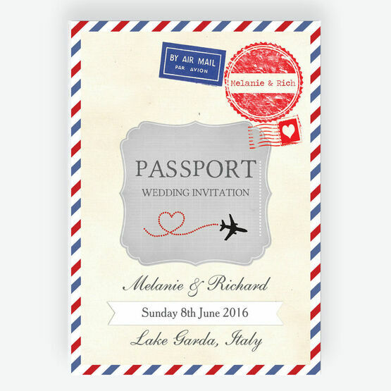 Vintage Airmail Passport Wedding Invitation