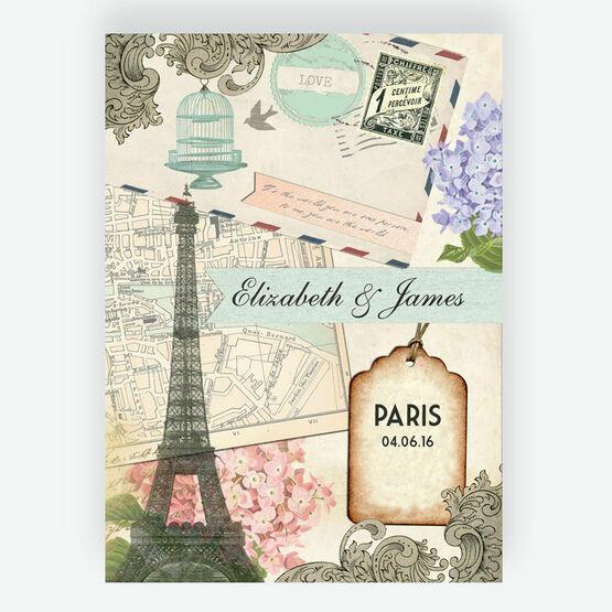 Vintage Paris Postcard Wedding Invitation