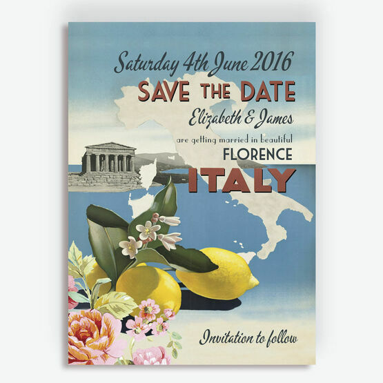 Vintage Italian Postcard Wedding Save the Date