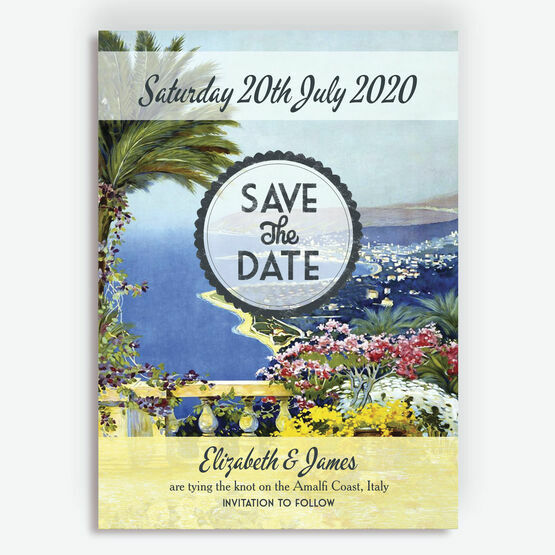 Vintage Mediterranean Postcard Wedding Save the Date