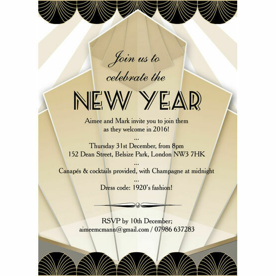 black and gold art deco new years eve party invitation from 1 00 each rh hiphiphooray com