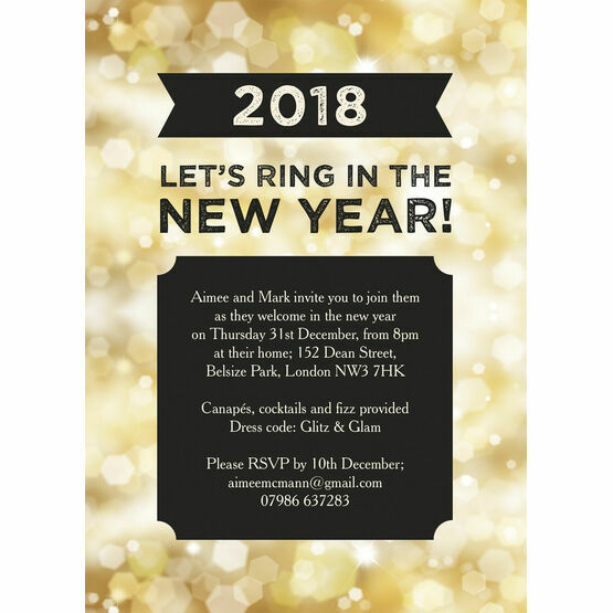 black and gold sparkle new years eve party invitation