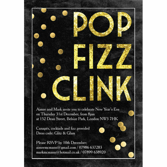 Pop Fizz Clink New Years Eve Party Invitation