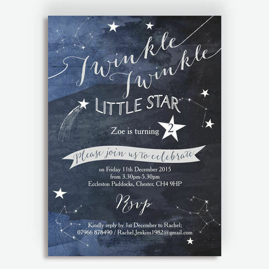 Twinkle Twinkle Little Star Party Invitation