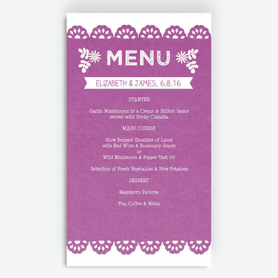 Mexican Inspired Papel Picado Menu