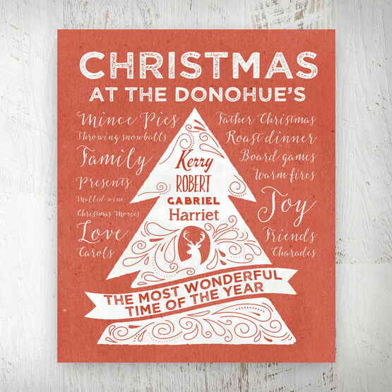 Personalised Rustic Red Christmas Tree Print