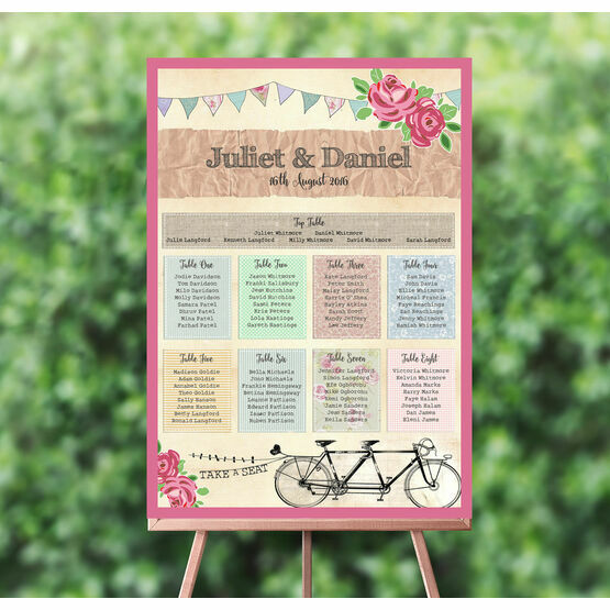 Tandem Bicycle Wedding Seating Plan