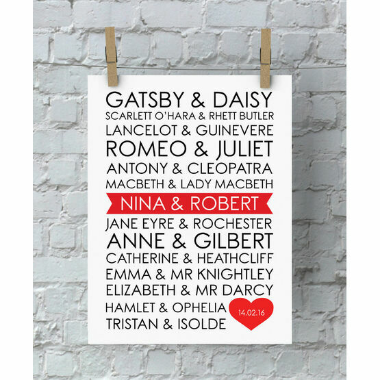 Personalised Literary Couples Valentine's Day Print