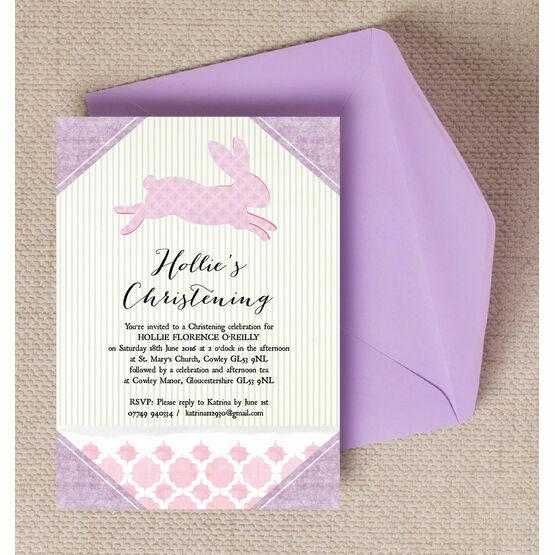 Pastel Bunny Christening / Baptism Invitation