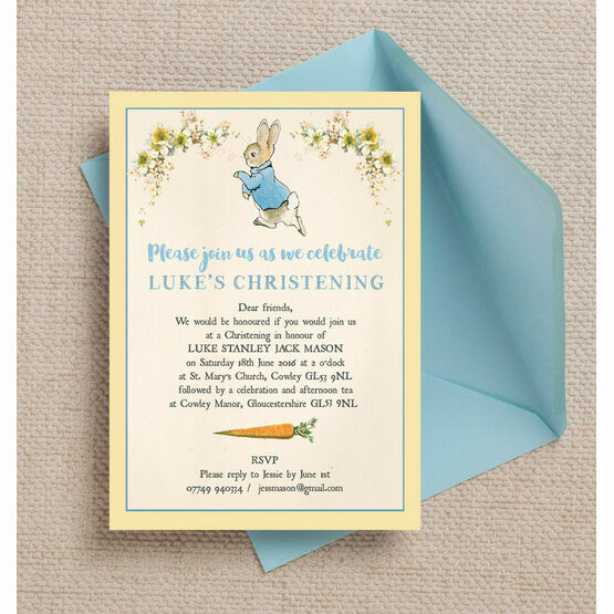 Peter Rabbit Christening / Baptism Invitation