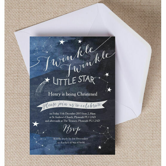 twinkle twinkle little star christening baptism invitation from