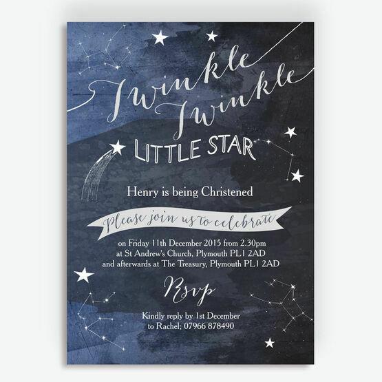 Twinkle Twinkle Little Star Christening / Baptism Invitation