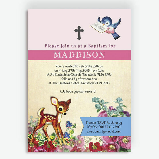Vintage Deer Christening / Baptism Invitation