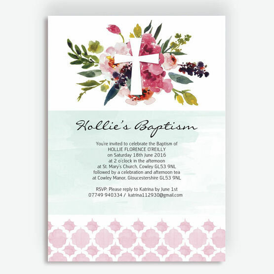 Watercolour Floral Christening / Baptism Invitation