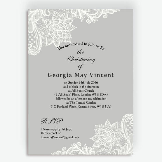 Grey & White Vintage Lace Christening / Baptism Invitation