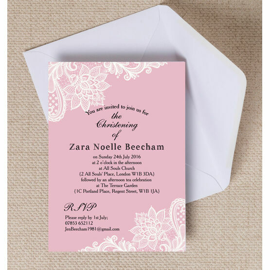 Pink & White Vintage Lace Christening / Baptism Invitation
