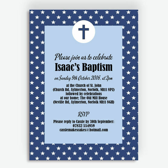 Navy Blue Stars Personalised Christening / Baptism Invitation