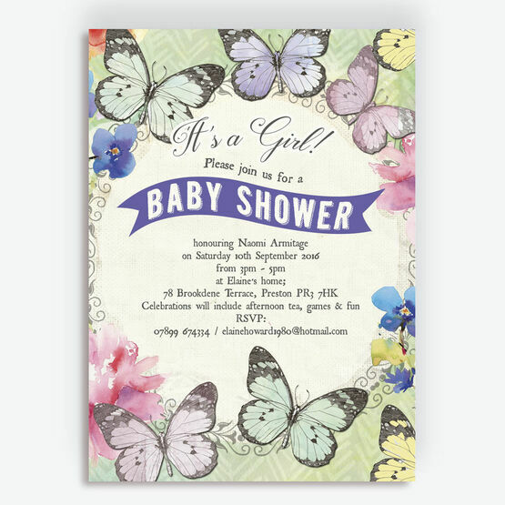 Butterfly Garden Baby Shower Invitation