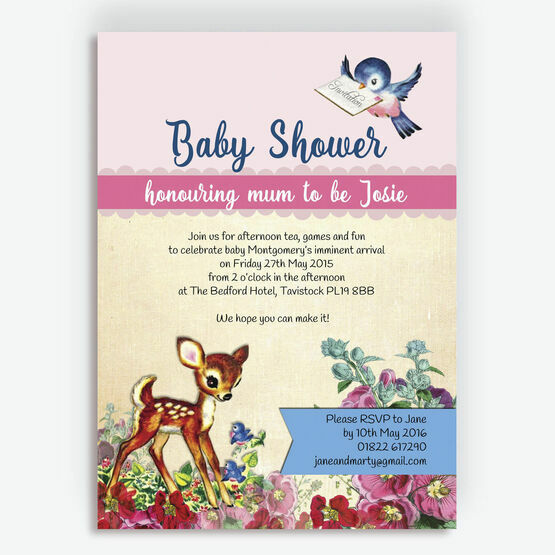 Vintage Deer Baby Shower Invitation